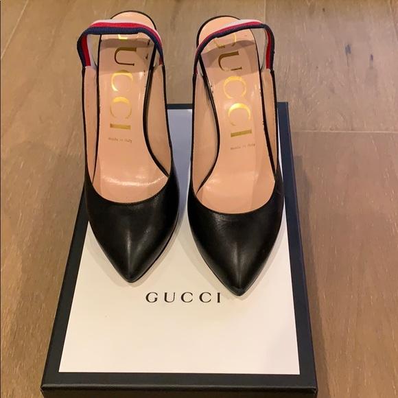 373b7c9e663d Gucci Shoes - Gucci Black Slingback Pumps Sz 38.5 2018
